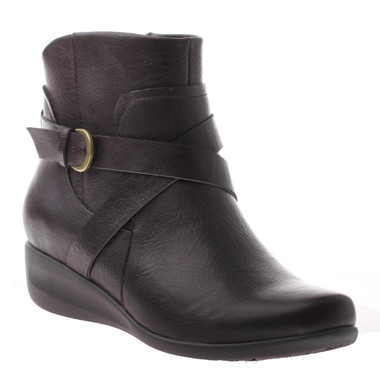 "Quarter Side View: Women shoes online, Women's boots, Axxiom Field Day, Ankle boot with small 1"" wedge heel and cross over buckle strap. Manmade materials. Color Dark Brown. Antique brass buckle."