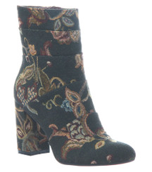 Quarter side view: Patchwork places by Poetic Licence. Brocade floral fabric upper, retro mid calf boot, square heel and tapered toe. Black Floral brocade fabric.