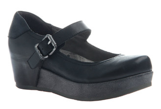 "Quarter Side View. Women Shoes Online, Women's Shoes, Women's Boots. OTBT Aura Flatform Mary Jane. Leather upper and approximately 1.61"" flatform and .91"" platform. Rubber sole, adjustable strap with silver buckle. Color: Black with distressed black flatform sole."