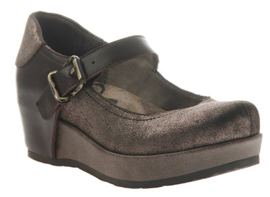"""Quarter side View. Women Shoes Online, Women's Shoes, Women's Boots. OTBT Aura Flatform Mary Jane. Leather upper and approximately 1.61"""" flatform and .91"""" platform. Rubber sole, adjustable strap with silver buckle. Color: Metallic brown leather and solid brown leather back piecing."""