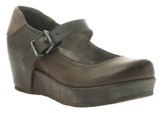 """Quarter Side View. Women Shoes Online, Women's Shoes, Women's Boots. OTBT Aura Flatform Mary Jane. Leather upper and approximately 1.61"""" flatform and .91"""" platform. Rubber sole, adjustable strap with silver buckle. Color: Dark Brown with mix shades of brown."""