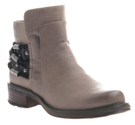 Quarter Side View. Women Shoes Online, Women's Shoes, Women's Boots. OTBT High Street boot. Biker bootie with texture blocking and wrap around beaded bracelet. Made of quality genuine leather and wooden sole. Color Timber Wolf (Grayish tan) and Black and silver beaded bracelet.