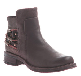 Front View. Women Shoes Online, Women's Shoes, Women's Boots. OTBT High Street boot. Biker bootie with texture blocking and wrap around beaded bracelet. Made of quality genuine leather and wooden sole. Color Coffee Bean (Dark Brown) and Tan-Brown beaded bracelet.