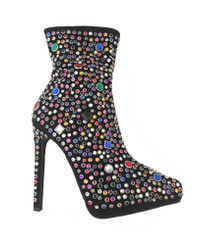"Quarter View: Women's Shoes, Women's Boot, Stiletto Boot with multi-colored jewels. Jeffrey Campbell Vain Boot. Black suede upper. 5"" heel and 1"" platform, Size 5.5"