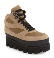 "Quarter View: Women's Shoes, Women's Boots, Jeffrey Campbell Half Dome, Women's Platform Hiking Boot, Canvas and suede upper in Khaki, Black 3"" platform lug sole. Sizes 6-10"