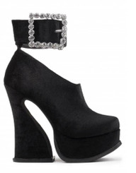"Side View: Women's Shoes, Jeffrey Campbell Minerva, Women's Platform bootie with ankle strap. 2.5"" Square crystal buckle, 5"" heel and  1.5"" platform. Color Black Velvet. Size 8"