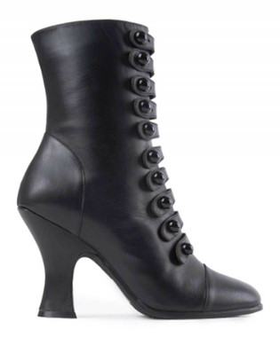 """Side View: Women's Shoes, Jeffrey Campbell Poppin, Mid ankle boot with multiple button straps, 3.75"""" heel, leather upper, color Black, size 10"""