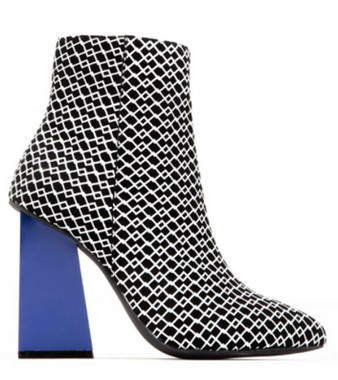 Side View: Women's Shoes, Jeffrey Campbell Tarot, mid ankle boot with rubber printing, blue square heel, Color Black White, with Blue heel, size 6.5