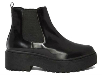 "Side View: Women's Shoes, Women's Platform Boot, Jeffrey Campbell Universal, Platform Chelsea boot with rubber lug traction sole. 2"" heel and 1.5"" platform. Patent leather, leather lining, color Black. Size 10"