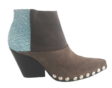 """Side View: Women's Shoes, Women's Bootie, Jeffrey Campbell Deville Boot, Pointed toe mix fabric bootie, 3.5"""" wooden heel, studded base and color blocking. Color: Blue/Brown, Size 9"""