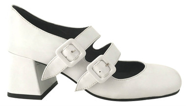 """Side View: Women's Shoes, Women's Mary Janes, Jeffrey Campbell Bickle, Double Strap Mary Janes, Block 2.5"""" heel, Color White. Size 6"""