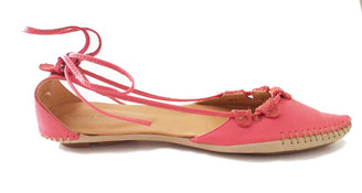 Side View. Women Shoes, Women's Flat Sandals, Taj by Terra Plana, Sustainable eco leathers, decorative front stitching, color red (salmon).