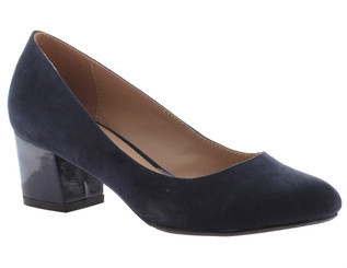 "Quarter View: Women Shoes, Women's Heels, Madeline Abbey, Women's Mid Heel, Rounded toe 2"" square block heel, Color Navy."