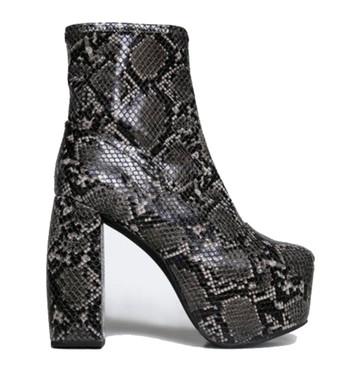 "Side View: Women's Shoes, Women's Boots, Jeffrey Campbell Fiction Boot, Snake skin platform boots, Color: Black grey snakeskin, 5.5"" heel and 2.25"" platform."