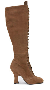 """Side View: Women's Shoes, Women's Lace Up Boot, Jeffrey Campbell Wyder, Suede Upper, 4"""" heel height, Size 10, Color Tan (Camel)."""