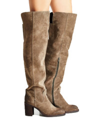"Side View: Women's Shoes, Women's Over the Knee Boot, Suede upper, Jeffrey Campbell Raylan, 3.25"" heel, Color Taupe, Size 7"