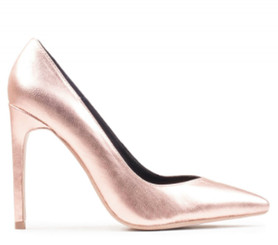 "Side View: Women's Shoes, Women's Stiletto Pump, Jeffrey Campbell Plaza, Metallic Leather upper, 4.25"" Heel, Color rose gold, Size 6"