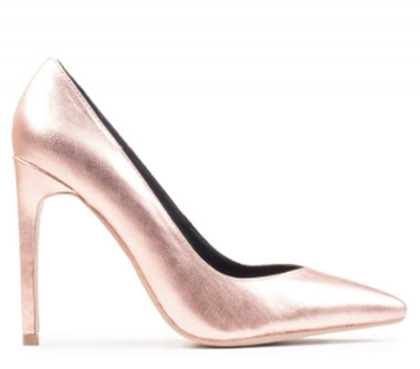"""Side View: Women's Shoes, Women's Stiletto Pump, Jeffrey Campbell Plaza, Metallic Leather upper, 4.25"""" Heel, Color rose gold, Size 6"""