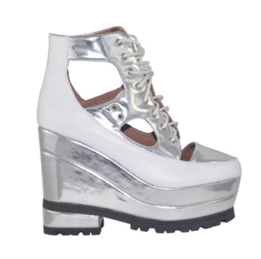"""Side View: Women's Shoes, Women's Platform Sneaker, Silver and White, 5: heel, 2"""" platform. Leather upper with cut outs."""