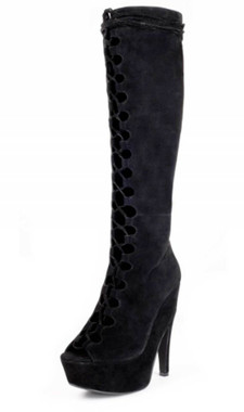 """Quarter View: Women's Boots, Lace up boot, Jeffery Campbell Dallyce, Size 6 black suede, 5.75"""" heel, 2"""" platform"""
