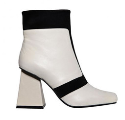 Side View: Women's Boot, Jeffrey Campbell Vicar, Color-block ankle boot, square heel and toe. White and Black. Neoprene and leather. Size 10
