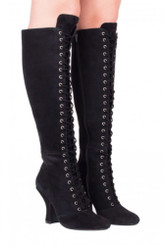 """Pair View: Women's Shoes, Women's Lace Up Boot, Jeffrey Campbell Wyder, Suede Upper, 4"""" heel height, Size 10, Color Black."""
