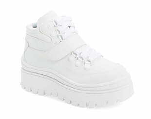 Quarter View: Women's Shoes, Women's Sneaker, Jeffrey Campbell Top Peak, Leather upper, High top sneaker with lug sole and velcro lace up. color white, size 7