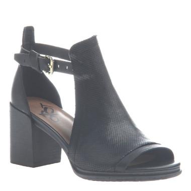 """Quarter View. Women Shoes, Women's Sandal, OTBT Metaphor, cut out bootie, Leather upper, 3"""" heel, Color black."""