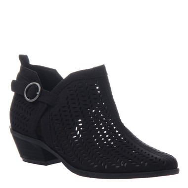 """Quarter View. Women Shoes Online, Women's Shoes, Women's Boots. Madeline Girl Tranquile, 1.3"""" heel bootie, perforated leather. Black."""
