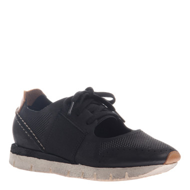 "Quarter View. Women Shoes, Women's Sneakers, OTBT Star Dust, cut out Sneaker, 1"" heel, Color Black), Light Weight EVA outsole"