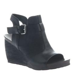 "Quarter View:  Women Shoes, Women's Sandals, OTBT Arcadian, 3"" stacked wedge sandal, Texture blocked leather, Color Black."