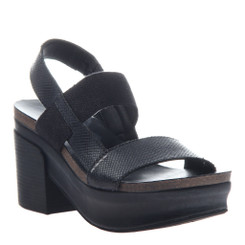"Quarter View:  Women Shoes, Women's Sandals, OTBT Indio, 3"" stacked heel-platform sandal, Textured leather, Color Black."