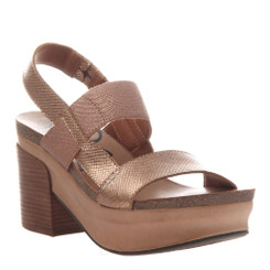 "Quarter View:  Women Shoes, Women's Sandals, OTBT Indio, 3"" stacked heel-platform sandal, Textured leather, Color Copper."