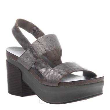 "Quarter View:  Women Shoes, Women's Sandals, OTBT Indio, 3"" stacked heel-platform sandal, Textured leather, Color Pewter."