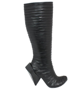 Side View: Women's Shoe, Irregular Choice, Tall Pleated Fabric Knee High Boot, Gem Cut Heel, Black Leather