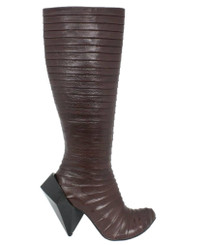 Side View: Women's Shoe, Irregular Choice, Tall Pleated Fabric Knee High Boot, Gem Cut Heel, Brown
