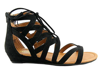 "Side View: Women's Shoes, Women's Sandals, Madeline Girl Saturate, Gladiator Sandal, 1"" heel, Color: Black"