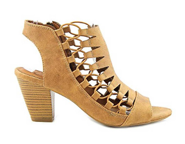 "Side View: Women Shoes, Women's Sandals, Madeline Winning, Women's Mid Heel Sandal, 2.5"" heel, Cut Out Upper, color Bark."
