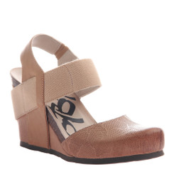 OTBT Rexburg- Women's Wedge with contrast elastic band- Desert and light tan Elastic