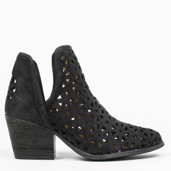 "Side View: Women's Shoes, Women's Bootie, Perforated leather, 2"" heel, Color: Black"