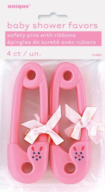 """4 RIBBON BABY PINS 4-1/2"""" PINK"""