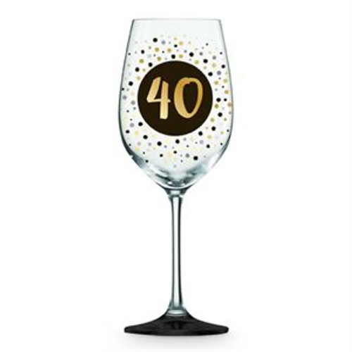 40 GOLD, BLACK AND SILVER WINE GLASS DOTS GOLD, BLACK, SILVER 430ML