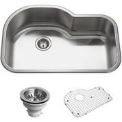 Houzer BSH-3200 Houzer Belleo Series Topmount Offset Single Bowl Kitchen Sink Stainless Steel BSH-3200