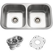 Houzer BSD-3209 Houzer Belleo Series Topmount Double Bowl Kitchen Sink Stainless Steel BSD-3209