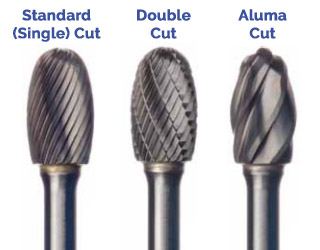 Standard-Double-Aluma Carbide Burr Cut Styles