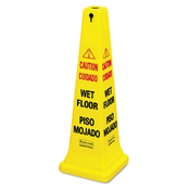 "Four-Sided ""Wet Floor"" Yellow Safety Cone, 12-1/4"" x 36"" (Qty. 1)"