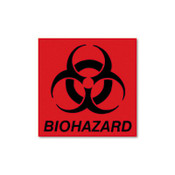 "Biohazard Decal, 5-3/4"" x 6"", Fluorescent Red (Qty. 1)"