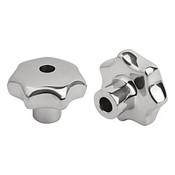 """Kipp .250"""" Inside Diameter, 32 mm Diameter, Star Grip Knob, Stainless Steel, Style B (1/Pkg.), K0150.232CM2"""