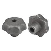 "Kipp .250"" Inside Diameter 32 mm Diameter, Star Grip Knob, Gray Cast Iron, DIN 6336, Style B (1/Pkg.), K0151.2CM"