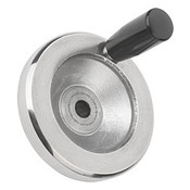 "Kipp 100 mm x .500"" ID Disc Handwheel with Revolving Handle, Aluminum Planed (1/Pkg.), K0161.4100XCP"